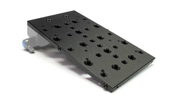 Camera accessory cheese plate, black with 1/4-20 and 3/8 mounting holes