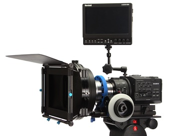 Camera support system for Sony FS100 or FS700 digital cinema camera